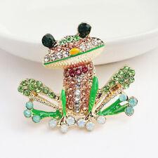 Betsey Johnson Green Enamel Crystal Cute Frog Charm Animal Brooch Pin Gift Hot