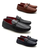 New Mens Faux Leather Casual Smart Loafer Designer LOOK Buckle Shoes UK Size6-12