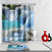 3D Water Cube Waterproof Polyester Fabric Bathroom Shower Curtain Decor 180cm