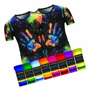 Luminous Fabric & Textile UV Paint - Set of 8 Textile Neon Black Light Glow P...