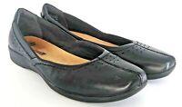 Clarks Collection Flat Women's 10 M Black Leather Split Toe Slip On Ballet Shoes