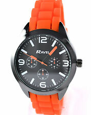 Ravel Boys Youths Teens Orange Sports Watch with Trendy Textured Silicone Strap