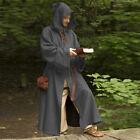 Men's Medieval Wizard Costume Long Sleeves Hooded Cloak Fancy Dress Cosplay Coat