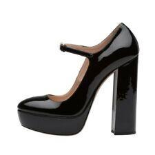 New Block Heel Ankle Strap Buckle Platform Round Toe Women Pumps Cosplay 44/46 L