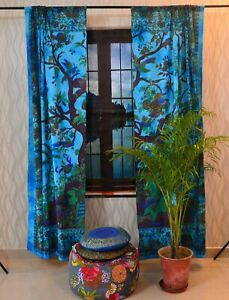 Tree Of Life Handmade Window Door Arched Curtain Blue Wall Mount Twin Tapestry