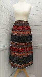 LIBERTY PLUS - ALL WOOL 'MADERA' Maxi Skirt Elasticated Waist Size S 8-10