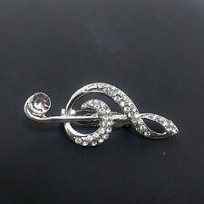 Sparkle Music Note Clear Crystal Teacher Breastpin Gift Brooch Pin Jewelry