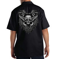 Inkception Gothic Skull Angels Wings Cool Dickies Mechanic Work Shirt