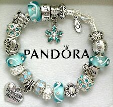 Authentic Pandora Charm Bracelet Mom Family Blue Aqua European Charms Gift 8.3