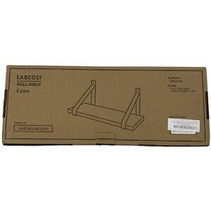 Labcosi White Floating Wall Shelf for Wall, Set of 2 Solid Wood Display Racks