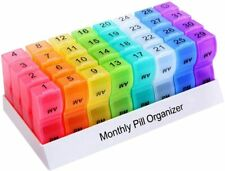 Monthly Pill Organizer Box 31 Day AM/PM Daily Pill Case 32 Compartments Each Day