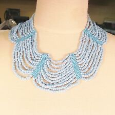 "16"" Light Blue Color Handmade Seed Bead Collar Choker Style Necklace"