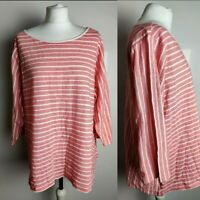 M&S Colletion Women's Top Tunic Pink Coral White Striped Cotton Plus Size 24 New