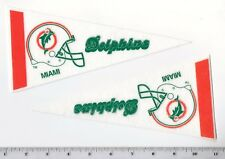 """Lot of 2 Vintage 1980's Miami Dolphins 8.5"""" Mini Pennants Throwback Old Logo"""