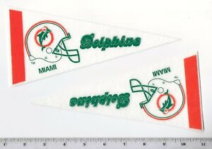 "Lot of 2 Vintage 1980's Miami Dolphins 8.5"" Mini Pennants Throwback Old Logo"