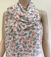 Pink Green Xmas Robin Holly Print Large Scarf Sarong