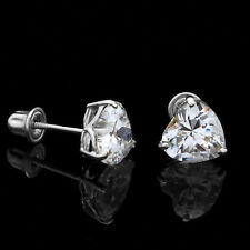 0.50Ct Created Diamond Heart Shaped Stud Earrings 14K Solid White Gold 4mm