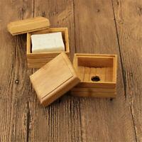 2pcs Natürliche Bambus Seife Dish Halter Seife Box Tablett Lagerung Container C