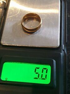 antique EDWARDIAN  22ct 22k 916 Gold Wedding Ring Band Samuel Hope 1907