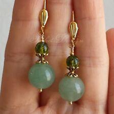 Aventurine & Peridot Cute Green Gemstone Earrings Jewelry Gold Plated Leverback