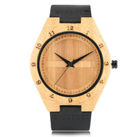 Handmade Wooden Bamboo Wrist Watch Men Bangle Quartz Leather Band Bracelet Gift