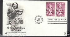 Babe Didrikson Zaharias 1981 Usps First Day Cover 2 18 cent Commemorative Stamps