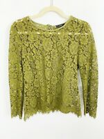 J CREW Size 2 Floral Lace Top Blouse w/ Built-In Cami Moss Green Long Sleeve
