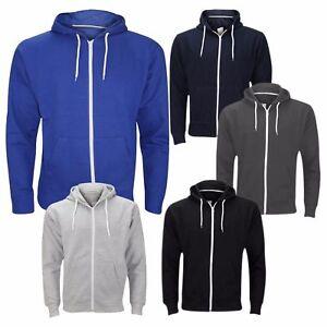 Mens Fleece Plain Hoodie Sweatshirt Hooded Zipper Jumper Top Hoody S M L XL XXL