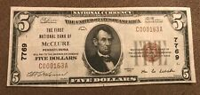 McClure  Pennsylvania , First National Bank  1929 T-1 $5 ,  very fine