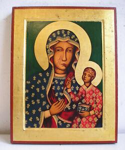 Madonna Nera CZESTOCHOWA Icona dipinta tavola legno con culla Russian icon