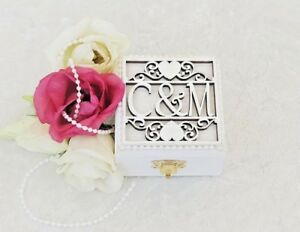 Luxury Personalised White Wooden Double Wedding Ring Bearer Box / Ring Pillow