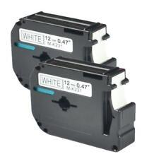 2St. Schriftband kassette 12mm MK M-K231 MK-231 für Brother P-touch Schwarz/Weiß