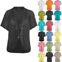 Womens Ladies Tie Up Lace Bolero Open Front Crochet Knitted Cardigan Top Shrug
