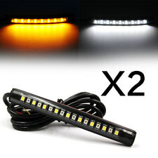 2x Flexible 17 LED Strip Light Tail Turn Signal Indicator Amber+White Motorcycle