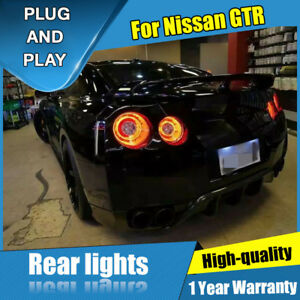 For Nissan GTR Dark / Red LED Rear Lamps Assembly LED Tail Lights 2009-2018