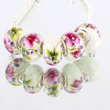 Beauty flowers 5pcs MURANO glass bead LAMPWORK fit European Charm Bracelet