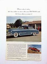 1953 DeSoto Sedan Vintage Original Print Ad Automobile