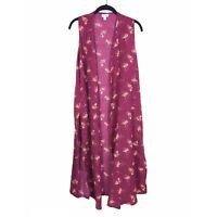 NWT LuLaRoe Women's Red Colorful Floral Pattern JOY Boho Duster Vest Size S