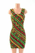 LARGE Red/Green/Gold Rasta Print Spandex Bodycon Tank Dress NWT Ready To Ship!