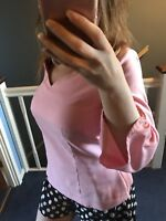 Marks And Spencer Womens Pink Top Size 8 Long Sleeve Office Blouse New