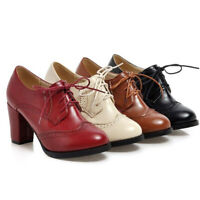 Lady Womens Block High Heels Pointed Toe Lace Up Oxford Shoes Office Pump Boots