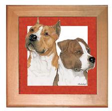 American Staffordshire Bull Terrier Amstaff Dog Kitchen Ceramic Trivet Framed in