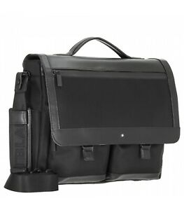 MONTBLANC NIGHTFLIGHT SINGLE GUSSET BRIEFCASE BAG BLACK LEATHER & CANVAS 118245