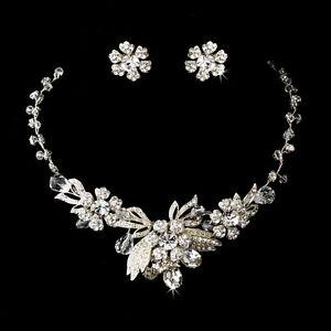 Vintage Inspired Silver Crystal Flower Design Bridal Necklace Wedding Jewelry