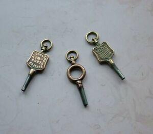 Antique Pocket Watch Keys, Mitcheson North Shields, & F.V.Pearson.