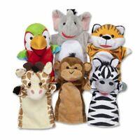 Melissa & Doug Safari Friends Buddies Hand Puppet Set of 6 NEW