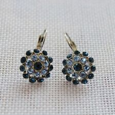 Boucles d`Oreilles Dormeuse Argenté Floral Bleu Metal Retro Class DD10