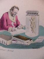 Simili Aquarelle L'oeuvre de Zola 1898 par H Lebourgeois Le docteur Pascal