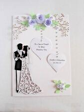 Luxury Personalised Handmade Wedding Card Bride & Groom  Roses and rhinestones