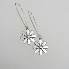 djs Sundance Sol Flower Charm Sterling Silver Daisy Long Hoop Drop Earrings Boho